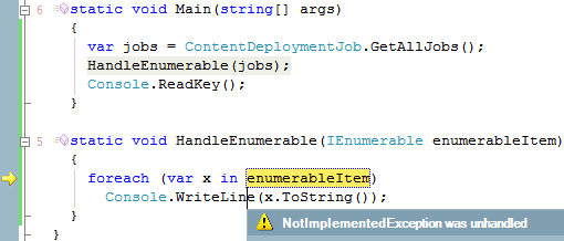 NotImplementedException from ContentDeploymentJob.GetAllJobs() in HandleEnumerable