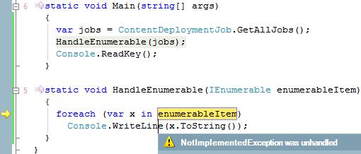NotImplementedException from ContentDeploymentJob.GetAllJobs() in HandleEnumerable